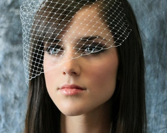 Isadora Angle Birdcage Net Veil - Angled Birdcage Veil - French Net Birdcage Veil