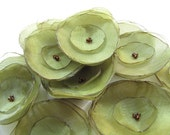 Olive Green Organza Flowers (12pcs)