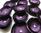 "15% OFF With Coupon Code ""DECEMBER2011"" (On All Items) Eggplant ( Aubergine ) - ( Plum ) Satin Flowers (12pcs)"