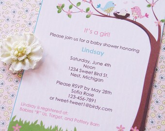 Bird Nest Baby Shower Invitations, Pink, Blue, Aqua,  - PRINTED and comes with envelopes