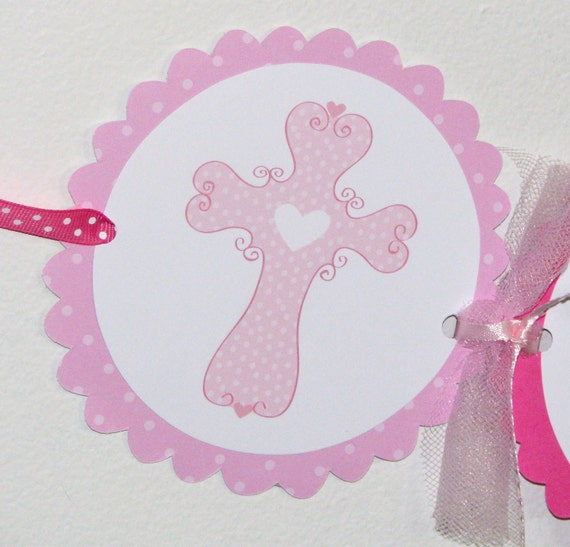 Pink OR Purple Cross Christening Baptism or Communion NAME banner