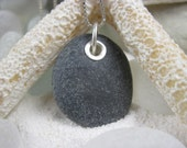 Rock n' Roll Genuine Beach Stone Pendant with Sterling Accents - Made to Order - Option to Add Sterling Bead Necklace