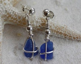 "Sea Glass Earrings - Sterling Wire Wrapped Dangle Earrings - ""Tie the Knot"""