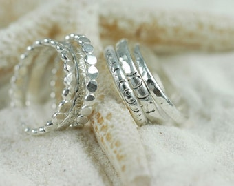 One Sterling Silver Textured Stacking Ring - Pairs With Sea Glass Ring