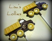 Dump Truck Birthday Party Chocolate Lollipop Favor  Set of 25