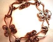 Hammered Antique Copper and Sterling Silver Bracelet