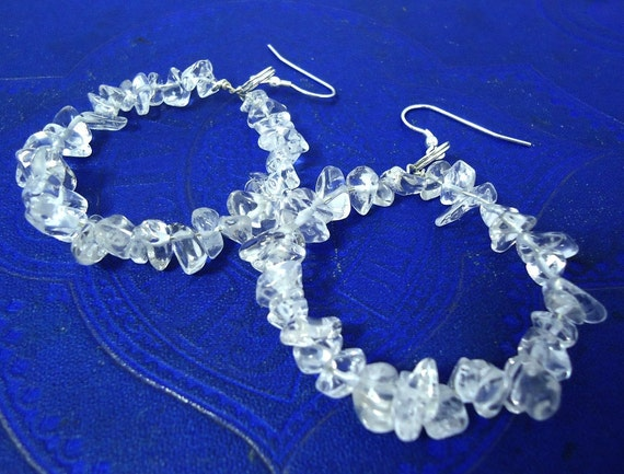 Hoop Earrings Quartz and Sterling Silver Statement Earrings UK Icicles