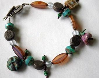 Bead Soup Jewelry - beaded Charm Bracelet -  Dusty Pink and Seafoam - Moon Charm Bracelet
