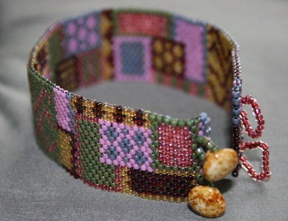 Abstract Hand Woven Cuff Bracelet - Beaded Cuff - Flat Cuff - Bead Soup Jewelry