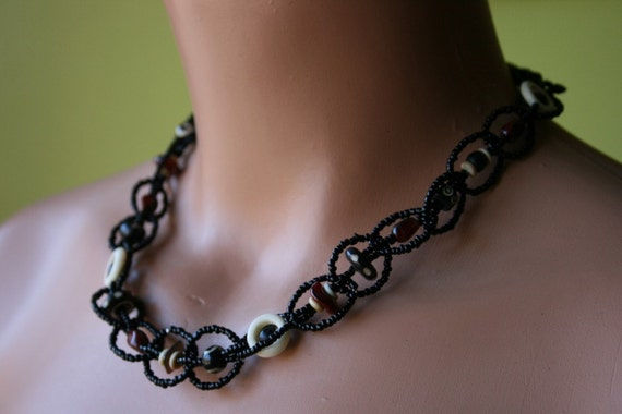 Assemblage Necklace Black Tribal Rope Necklace