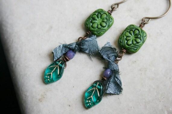 Vintage Beads Czech Glass and Sari Silk Earrings Asparagus Earrings