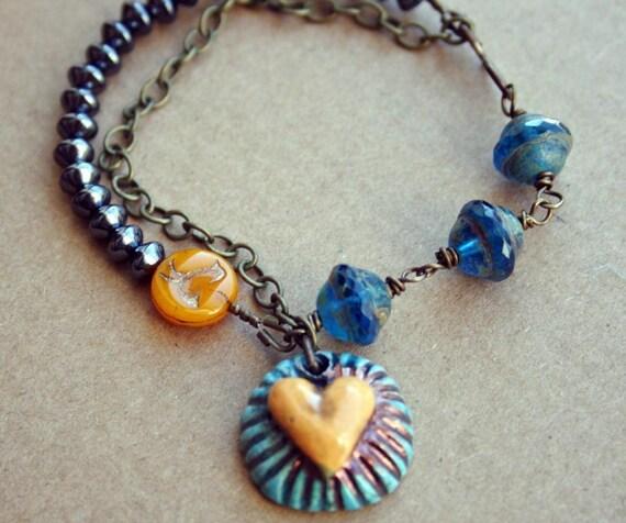Ceramic Heart Beaded Bracelet