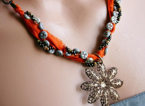 Sari Silk Beaded Necklace - BLACK FRIDAY SALE - cyber monday sale - 40 percent off
