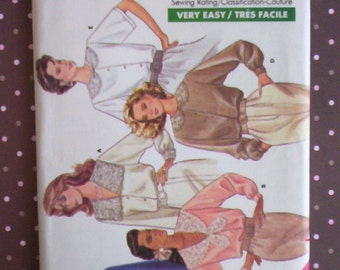 Vintage 1980s Sewing Pattern - Butterick 5852 - Misses' Blouse (Size 12-14-16) - Sewing Supplies