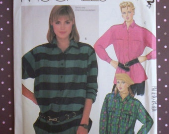 Vintage 1980s Sewing Pattern - McCall's 2102 - Misses' Shirt (Size 14) - Sewing Supplies