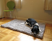 Giant knit rope rug - 48 by 36 inches