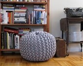 Extra extra large knit rope pouf