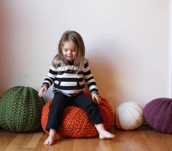 Extra large knit pouf - soft fill