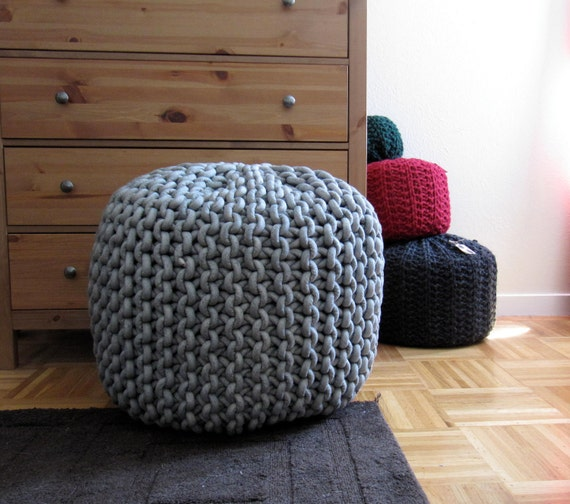 Items similar to giant knit rope pouf pattern on etsy - Knitted pouf ottoman pattern ...