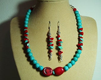 American TURQUOISE Gemstones, AAA Red Sea Coral and Silver Necklace and Earrings