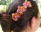 Orchid Flower Bobby Hair Pins,Set of 3 Orange,Beach Weddings, Tropical Vacation, Hawaiian Wedding, Orange Hair Flowers, Floral Hair Pins