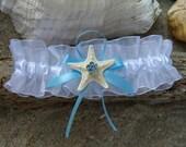 Starfish Beach Weddings-Starfish Blue Rhinestone Center White Bridal Garter