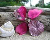 Holiday Sparkle Flower Hair Clip-BOLD PINK SPARKLE-Holiday Parties, Gifts under 10, Flower Hair Clip, Floral Hair Clip, Weddings, Hot Pink