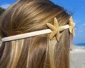 Starfish Headband with Two Sugar Starfish-Tan-Hippy Chic, Beach Hair, Mermaid Hair, Boho Coastal, Jersey Shore, Nautical, Beach Weddings