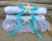 Beach Wedding Starfish Garter Set,SOMETHING AQUA BLUE, Lingerie Garter,Destination Weddings, Mermaids, Mint Aqua,Turquoise Blue