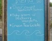 Beach Wedding Chalkboard Rustic Driftwood Starfish 16 x 20-NANTUCKET BLUE-Beach Weddings, Nautical Weddings, Menu Chalkboard,Chalkboard