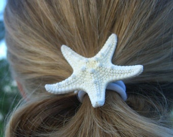 Starfish Hair Accessory-White Pony Tail-Starfish Hair Accessories, Mermaid Halloween, Starfish, Under the Sea Party, Surfer Girl Hair