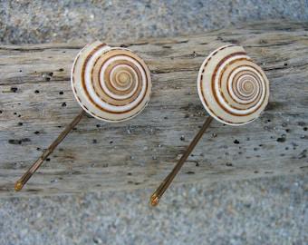 Seashell Bobby Pins-Set of 2-Beach Weddings, Seashell Bobby Pins, Mermaids, Coastal, Seashore