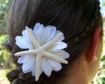 Starfish Floral Hair Clip-Skinny Sparkle Starfish Flower Bobby Pin,Starfish Beach Wedding,Prom, Mermaid Hair Clip