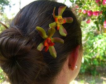 Floral Flower Hair Bobby Pins Hair Clips-Set of 2-Spider Orchid Bobby Pins-Tropical Hair Clips, Destination Weddings, Beach Weddings