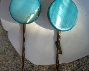 Seashell Bobby Pins-Ocean Blue-Set of 2-Beach Weddings, Weddings, Seashore, Mermaids, Aqua Blue, Seashell Hair Pins, Something Blue