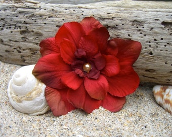 Hair Flower Clip,Bohemian Hair Flower,Red Hair Flower,Rustic Wedding,Bridesmaid Hair Accessories,Romantic Wedding,Floral Hair Clip