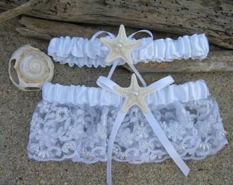 Beach Wedding Starfish Bridal Garter with Matching Toss Garter-BRIDAL WHITE-Starfish Weddings, Beach Weddings,Weddings, Garter Sets, Bridal