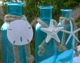 Aqua Blue Glass Bottles,Sea Life Trio, Ceremony Sand Bottles,Mother's Day, Beach Decor, Seashore, Beach Weddings, Starfish Sand Dollar Home