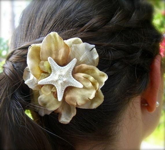 Starfish Floral Hair Clip-Beach Weddings, Mermaids, Summer Vacation, Starfish Accessories, Destination Weddings, Starfish Weddings