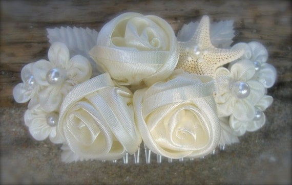 Starfish Beach Wedding Floral Bridal Hair Comb, Destination Wedding, Ivory Bridal Hair Piece, Nautical Weddings, Starfish Hair Comb