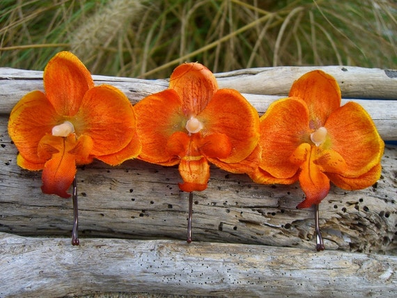 Exotic Flower Hair Clips-TANGERINE TANGO-Set of 3 Orchid Bobby Pins, Hawaii, Tropical, Destination Beach Weddings, Floral Hair Clips