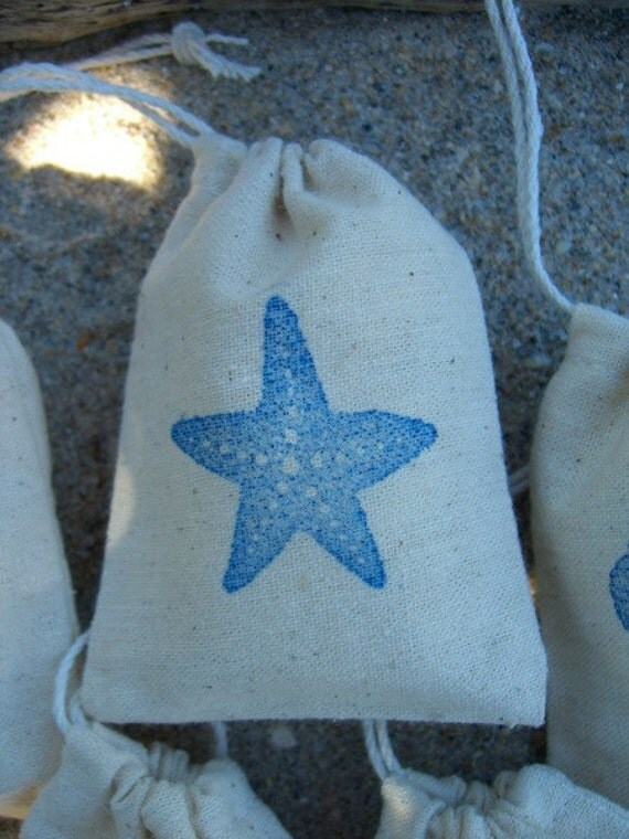 Favor Gift Bags-Set of 5-Starfish, Seashells and Seahorse Collection-Wedding Favors, Children's Party Favors, Beach Home Decor, Fun