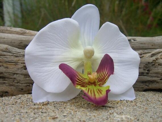 Flower Orchid Hair Clip-Floral Hair, Bridal Hair Flower, Luau, Beach Weddings, Destination Weddings, Summer Vacations, Photo Prop