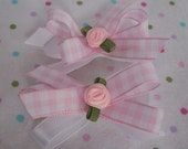 pair of hair bows- white and pink gingham