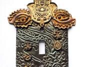 Past, Present and Future, Hamsa, one of a kind, light switch cover, whimsical, spiritual, unique