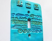 Primitive Turquoise 1, one of a kind, light switch cover, switchplate, wallplate, unique gift, functional art, home accessory