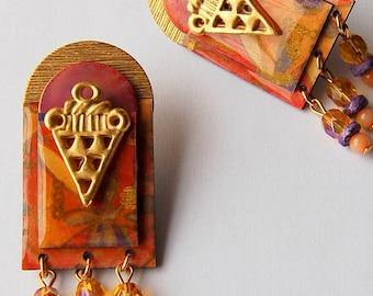 GOLDEN SUNSET earrings, mixed media, ethnic flair, beaded, post