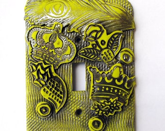 SALE-Modern Royalty, whimsical, light switch cover, switch plate, one of a kind, lime green, crowns, unique