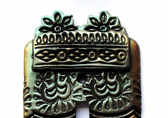 Twin Blooms, light switch cover, one of a kind, ornate, textile blocks, unique