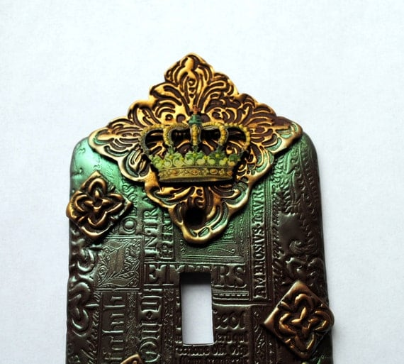 Crown Series 1, one of a kind, light switch cover, switch plate, crown, Eiffel tower, Paris, Latin script, eclectic